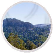 Mill Valley Ca Hills With Fog Coming In Left Panel Round Beach Towel