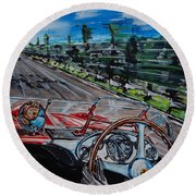 Mille Miglia On Board With Peter Collins Round Beach Towel
