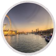 Millenium Wheel Dusk  Round Beach Towel