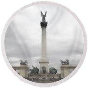 Millennium Monument Budapest Round Beach Towel