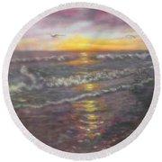 Miller Ocean Sunset Round Beach Towel