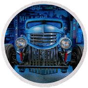 Millers Chop Shop 1946 Chevy Truck Round Beach Towel