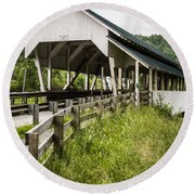 Millers Run Covered Bridge Round Beach Towel by Edward Fielding