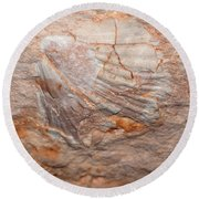 million years ago 2 - An enormeous shell fossile in top of cova des coloms in Es Migjorn - Menorca Round Beach Towel