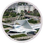 Milwaukee Art Museum Aerial Round Beach Towel