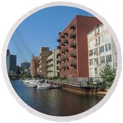 Milwaukee River Architechture 1 Round Beach Towel