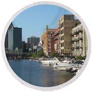 Milwaukee River Architecture 2 Round Beach Towel