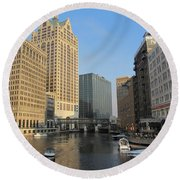 Milwaukee River Theater District 2 Round Beach Towel
