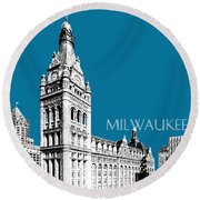 Milwaukee Skyline City Hall - Steel Round Beach Towel
