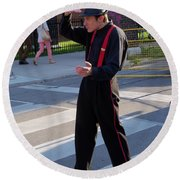 Mime Performer On The Street Round Beach Towel