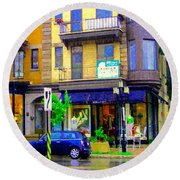 Mimi And Coco Clothing Boutique Laurier In The Rain  Plateau Montreal City Scenes Carole Spandau Art Round Beach Towel