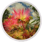 Mimosa Blossoms Round Beach Towel
