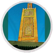 Minaret For Call To Prayer In Tangiers-morocco Round Beach Towel
