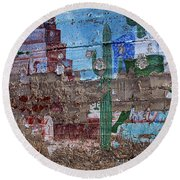 Miner Wall Art 3 Round Beach Towel