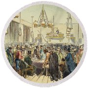 Miners In Saloon, 1852 Round Beach Towel