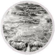 Minerva Springs In Black And White Yellowstone National Park Wyoming Round Beach Towel