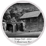 Mingus Mill -- Black And White Poster Round Beach Towel