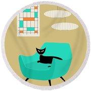 Mini Abstract With Aqua Chair Round Beach Towel