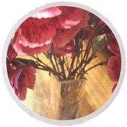 Mini Carnation Bouquet Round Beach Towel
