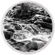 Mini Cascades Smoky Mountains Bw Round Beach Towel