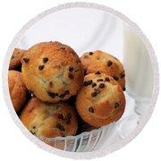 Mini Chocolate Chip Muffins And Milk - Bakery - Snack - Dairy - 2 Round Beach Towel