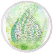Mini Forest With Birds In Flight - Illustration Round Beach Towel
