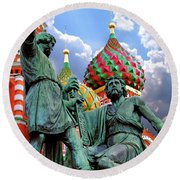 Minin And Pozharsky Monument In Moscow Round Beach Towel by Oleksiy Maksymenko