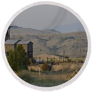 Mining In Butte Round Beach Towel