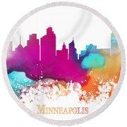 Minneapolis City Colored Skyline Round Beach Towel