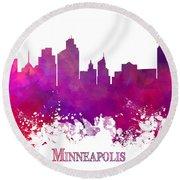 Minneapolis City Skyline Purple Round Beach Towel