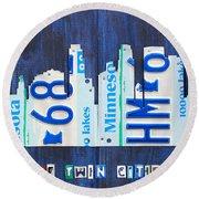 Minneapolis Minnesota City Skyline License Plate Art The Twin Cities Round Beach Towel