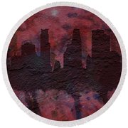 Minneapolis Skyline Brick Wall Mural Round Beach Towel