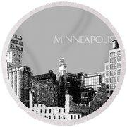 Minneapolis Skyline Mill City Museum - Silver Round Beach Towel