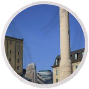 Minneapolis Smokestack Round Beach Towel