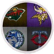 Minneapolis Sports Fan Recycled Vintage Minnesota License Plate Art Wild Vikings Timberwolves Twins Round Beach Towel