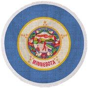Minnesota State Flag Round Beach Towel by Pixel Chimp