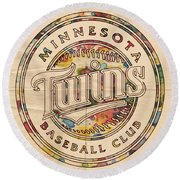 Minnesota Twins Logo Vintage Round Beach Towel