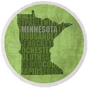 Minnesota Word Art State Map On Canvas Round Beach Towel