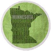 Minnesota Word Art State Map On Canvas Round Beach Towel