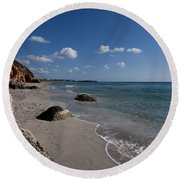 Binigaus Beach In South Coast Of Minorca With A Turquoise Crystalline Water - Paradise In Blue Round Beach Towel