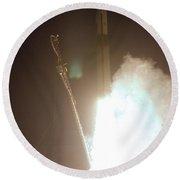 Minotaur Rocket Launch Round Beach Towel