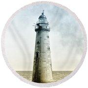 Minots Ledge Lighthouse Round Beach Towel