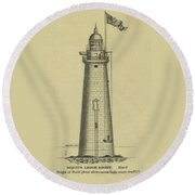 Minot's Ledge Lighthouse Round Beach Towel