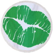 Mint Green Kiss Round Beach Towel