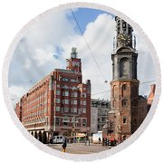Mint Tower In Amsterdam Round Beach Towel