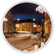Miodowa Street In Warsaw At Night Round Beach Towel