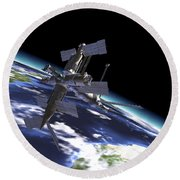 Mir Russian Space Station In Orbit Round Beach Towel