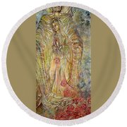 Miracle Of A Virgin  Round Beach Towel by Karina Llergo
