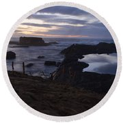 Mirror At Glass Beach Round Beach Towel