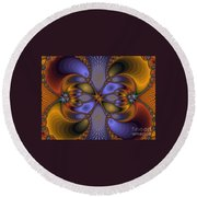 Mirror Butterfly Round Beach Towel